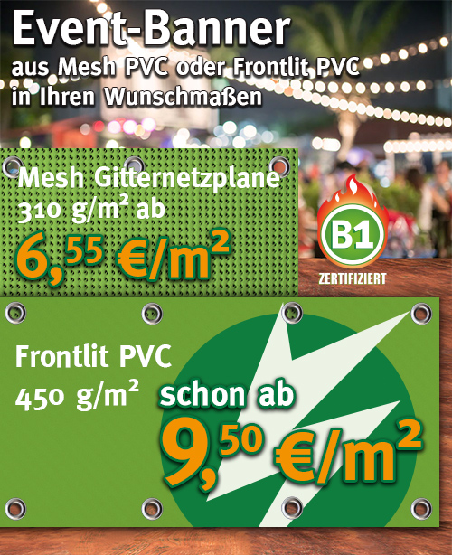 Event-Banner aus Mesh PVC oder Frontlit PVC
